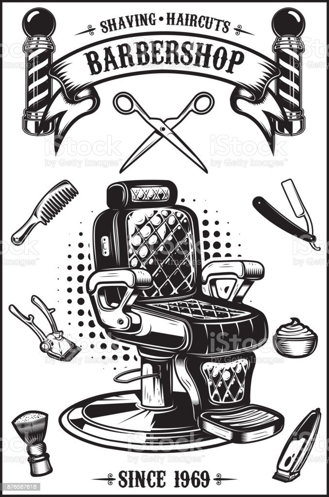 Barbearia poster com cadeira de barbeiro, ferramentas de corte de cabelo. Desenha elementos para cartaz, emblema. Ilustração vetorial - ilustração de arte em vetor