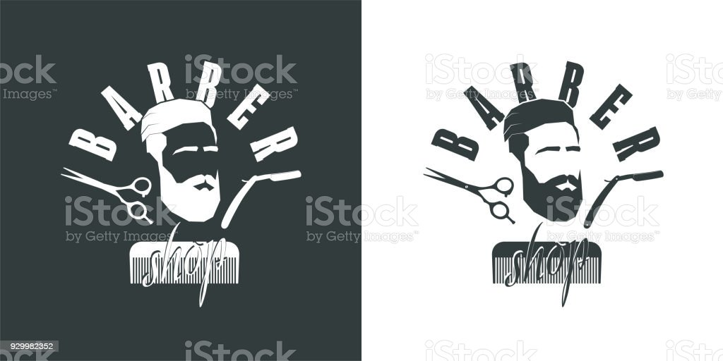 Ilustración De Peluquería Perfil De Hombre Con Barba