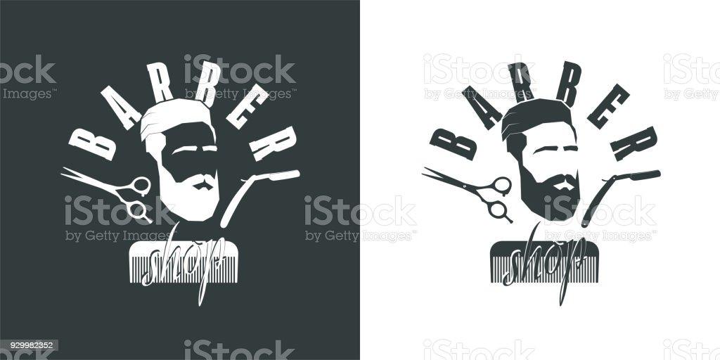 barbearia. Perfil de homem com barba, tesoura, faca para barbear - ilustração de arte em vetor