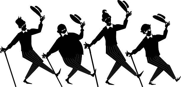 stockillustraties, clipart, cartoons en iconen met barbershop quartet clip-art - tenor