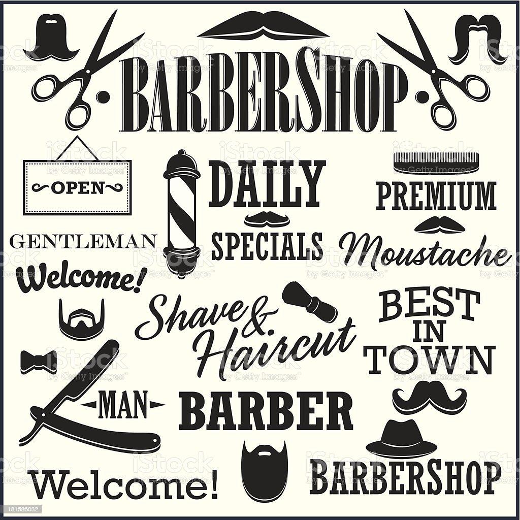 Barbearia retrô Kit de criação, bigodes, barbas, títulos e outros - ilustração de arte em vetor