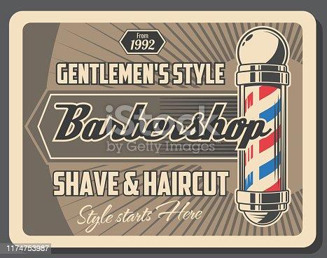 Barbershop service retro poster of gentlemen style