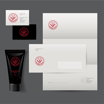 Barbershop sign and identity. Corporate style, envelope, letterhead, business card, tube cream for the care skin after shaving.