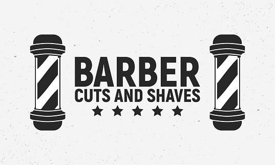 Barbershop sign, banner, poster with barber pole. Vector illustration