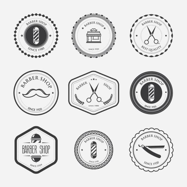 Barbershop stamps vector art illustration