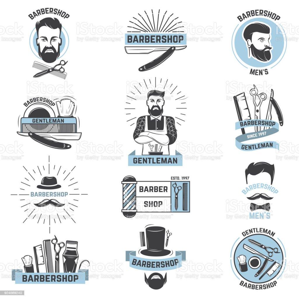 Barbeiro de vetor de barbearia símbolo corta o corte de cabelo masculino e farpado bigode de homem barbudo com navalha no salão hipster em ilustração de symboltype conjunto isolado no fundo branco - ilustração de arte em vetor