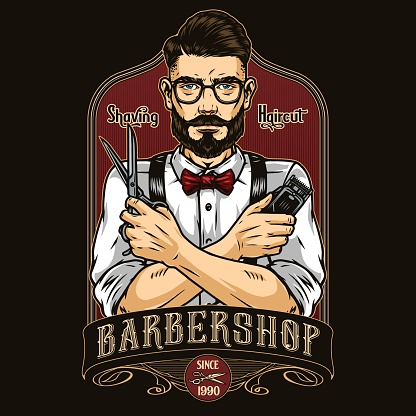 Barbershop vintage colorful elegant label