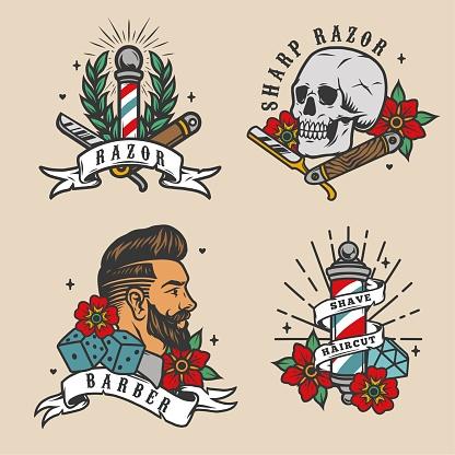 Barbershop vintage colorful emblems