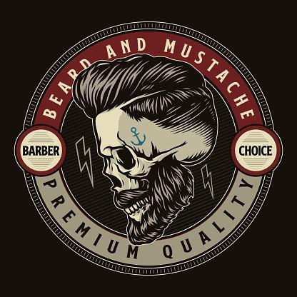 Barbershop vintage colorful round emblem