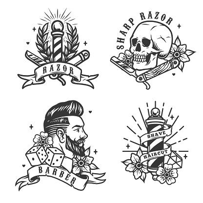 Barbershop vintage labels set