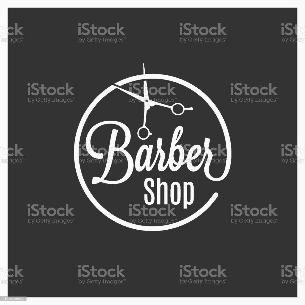 barbershop vintage logo with barber scissors on black background vector art illustration