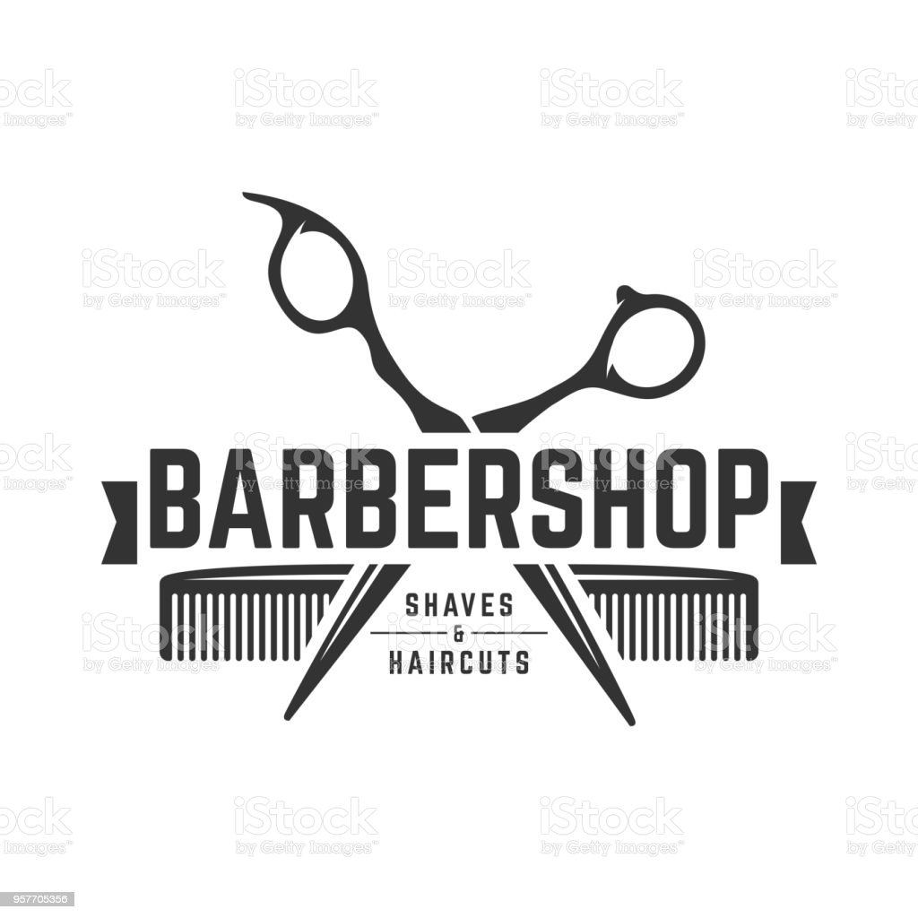 Barbershop vintage template on isolated white background vector art illustration