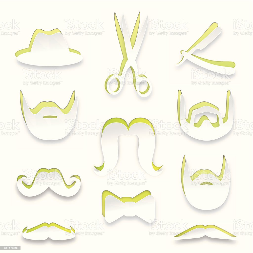 Barbershop white paper shapes collection – Mustaches, Beards & More royalty-free stock vector art
