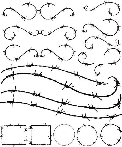 Barbwire ornament y bastidores - ilustración de arte vectorial