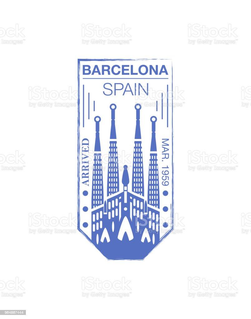 Barcelona arrival ink stamp on passport. royalty-free barcelona arrival ink stamp on passport stock illustration - download image now