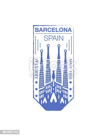 Barcelona Arrival Ink Stamp On Passport Stock Vector Art & More Images of Absence 964887444