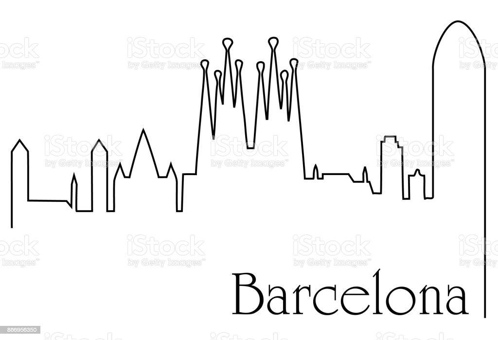 Ilustración De Fondo De Un Dibujo De Línea De Ciudad De Barcelona Y
