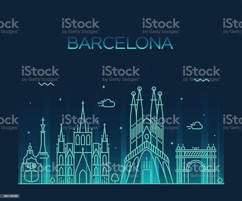 Horizonte de la ciudad de Barcelona moda vector Diseño de trazado - ilustración de arte vectorial