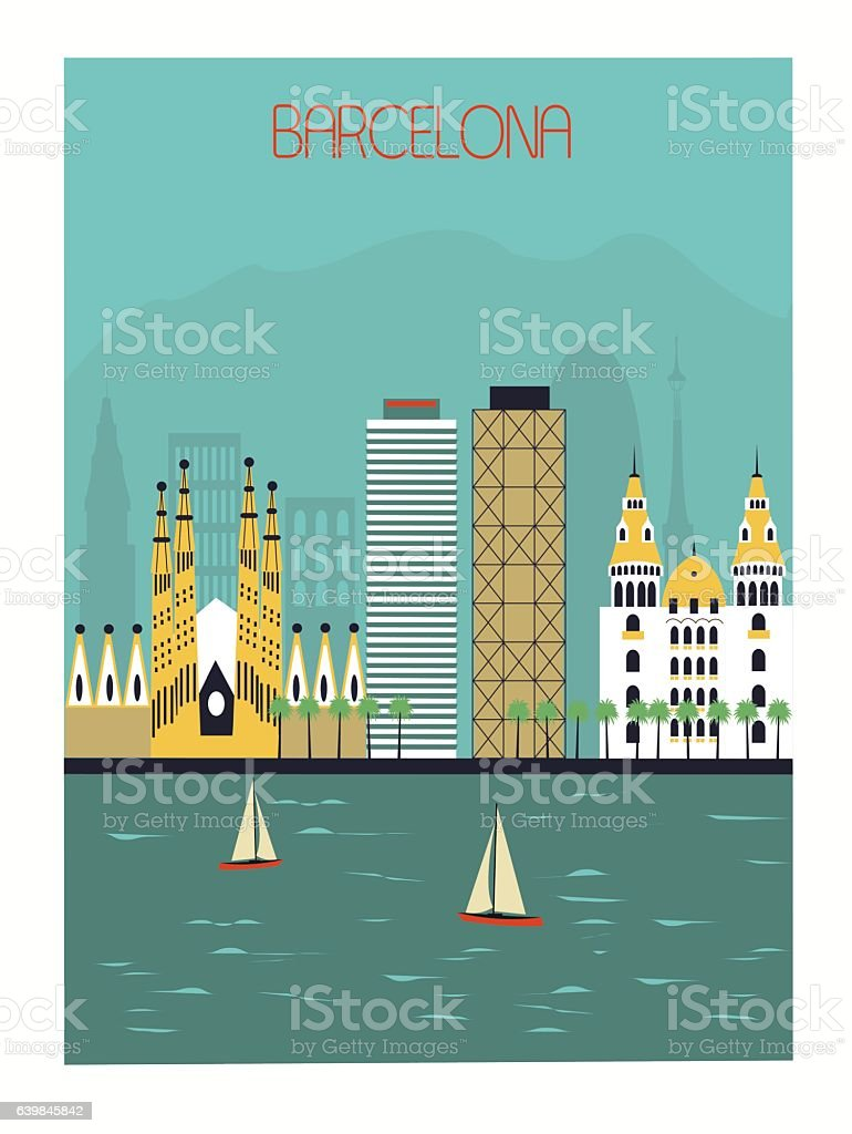 La ciudad de Barcelona  - ilustración de arte vectorial