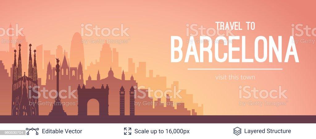 Escapo de la ciudad de Barcelona. - ilustración de arte vectorial