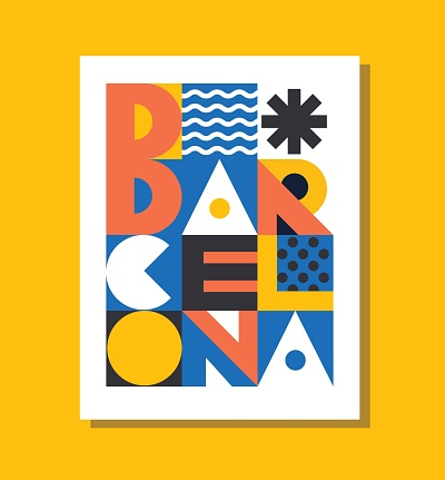 Barcelona geometric colorful  poster