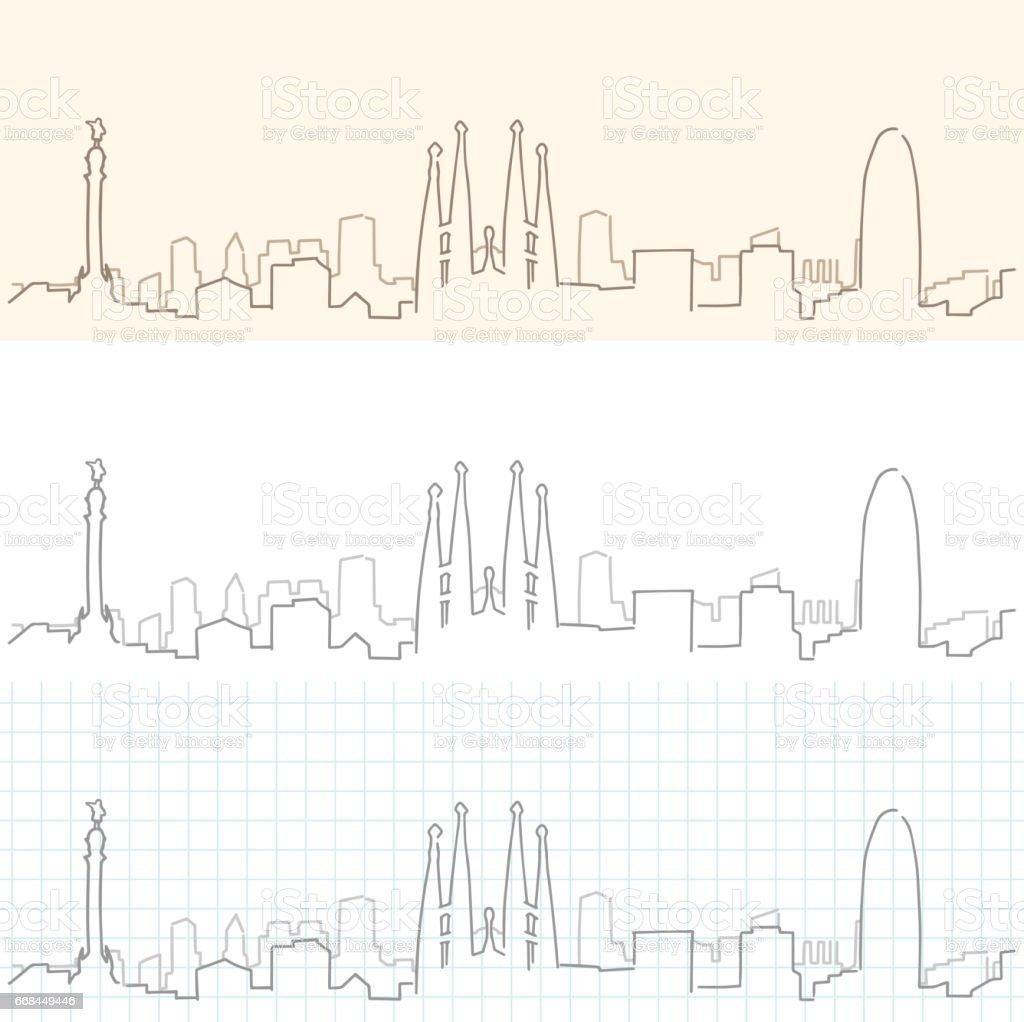 Skyline dibujado de la mano de Barcelona - ilustración de arte vectorial