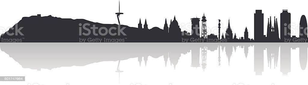 Altamente detallada de los edificios de la ciudad de Barcelona. - ilustración de arte vectorial