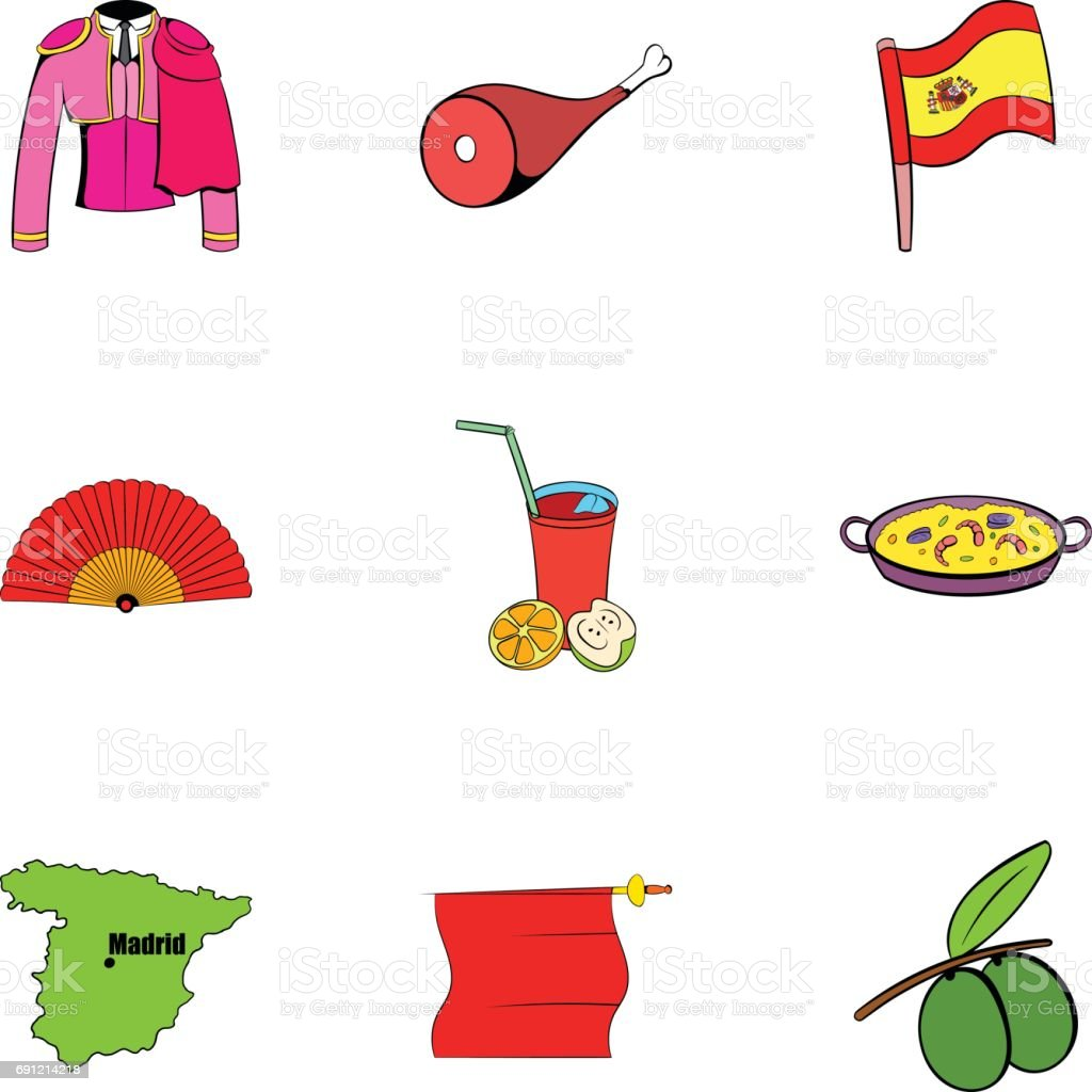 Ilustración De Conjunto De Iconos De Barcelona Estilo De Dibujos
