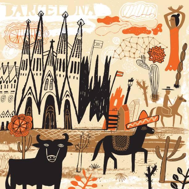 Barcelona in Spain - Illustration vectorielle