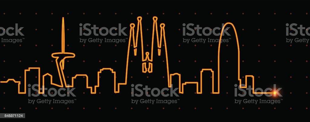 Barcelona Light Streak Profile - ilustración de arte vectorial