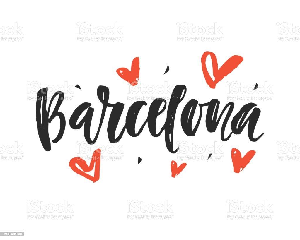 Barcelona. Escrito Letras de pincel a mano ciudad moderna - ilustración de arte vectorial