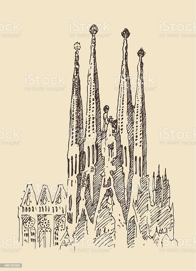 Atracciones de la ciudad de Barcelona, arquitectura, ilustración, vintage dibujados a mano las marcas - ilustración de arte vectorial