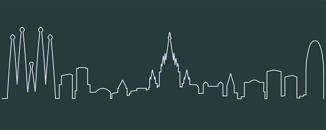 Barcelona Single Line Skyline