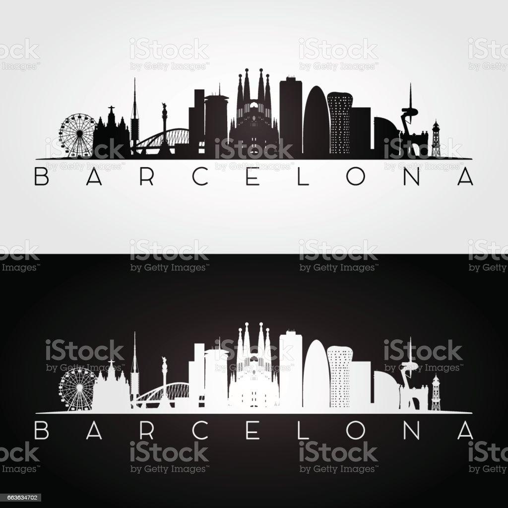 Silueta de horizonte y puntos de interés de Barcelona, - ilustración de arte vectorial