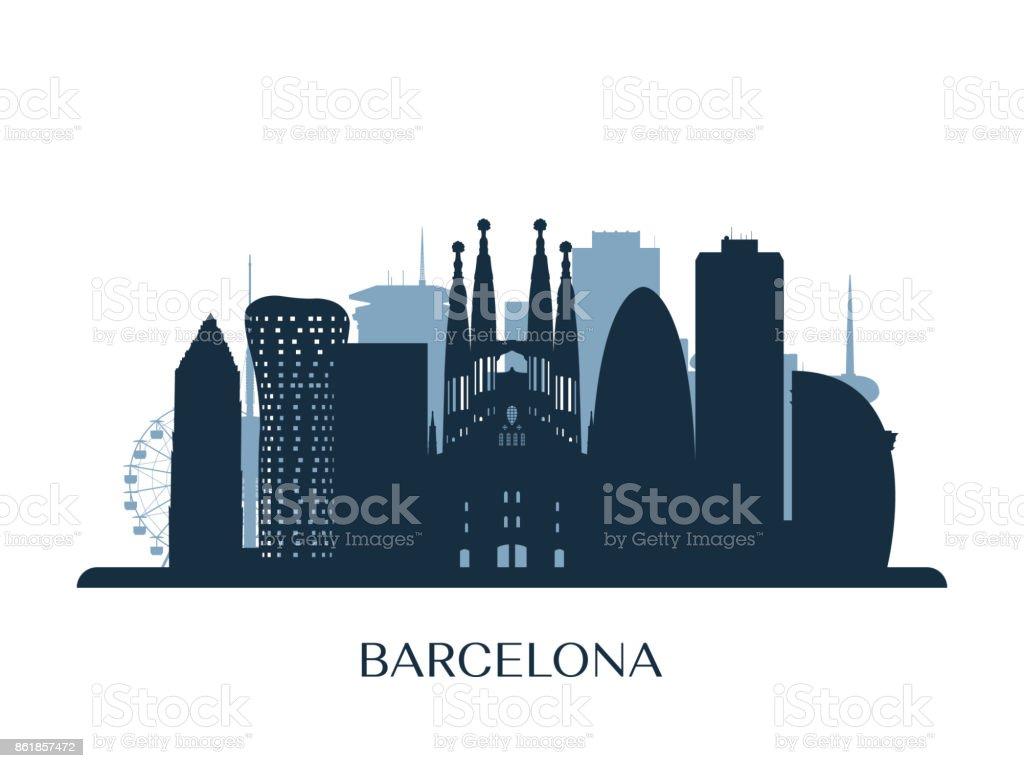 Skyline de Barcelona, silueta monocromo. Ilustración de vector. - ilustración de arte vectorial