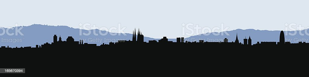 Barcelona Skyline Silhouette royalty-free stock vector art