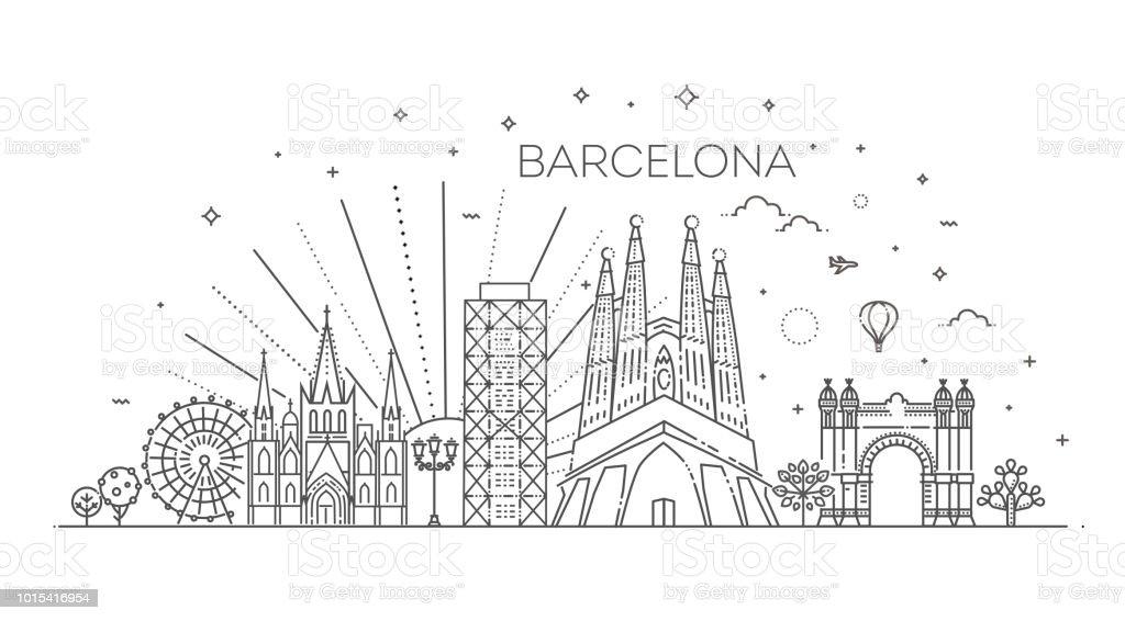 Edificios de la ciudad de Barcelona, España - ilustración de arte vectorial