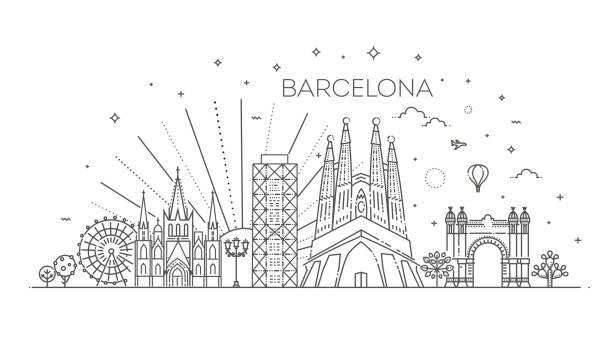 skyline von barcelona, spanien - spanien stock-grafiken, -clipart, -cartoons und -symbole