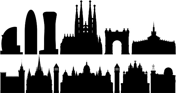 Barcelona Skyline (All Buildings Are Complete and Moveable)