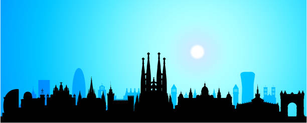 Barcelona Skyline (All Buildings Are Complete and Moveable) vector art illustration