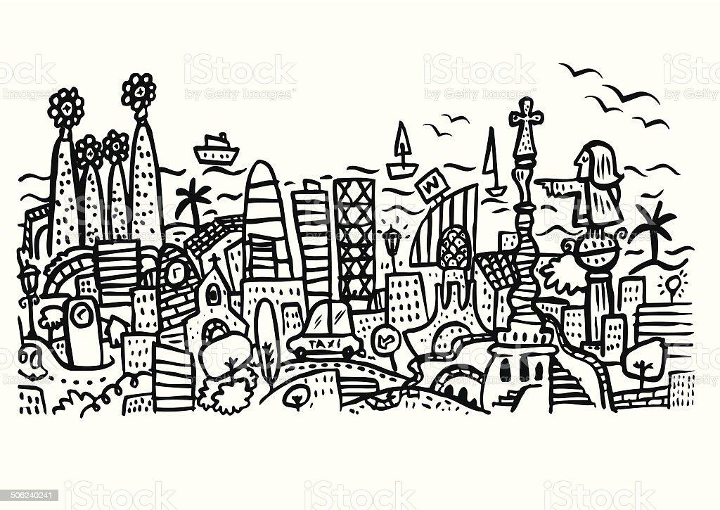 Horizonte de la ciudad de Barcelona. - ilustración de arte vectorial