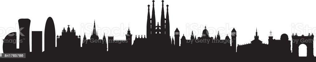 Skyline de Barcelona (todos los edificios son completa y móvil) - ilustración de arte vectorial