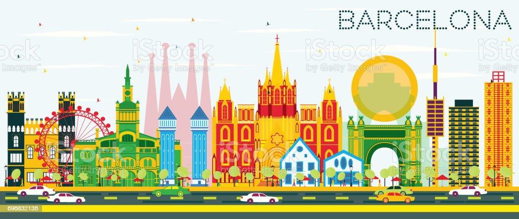 Barcelona Horizonte con Color de los edificios y el cielo azul. - ilustración de arte vectorial