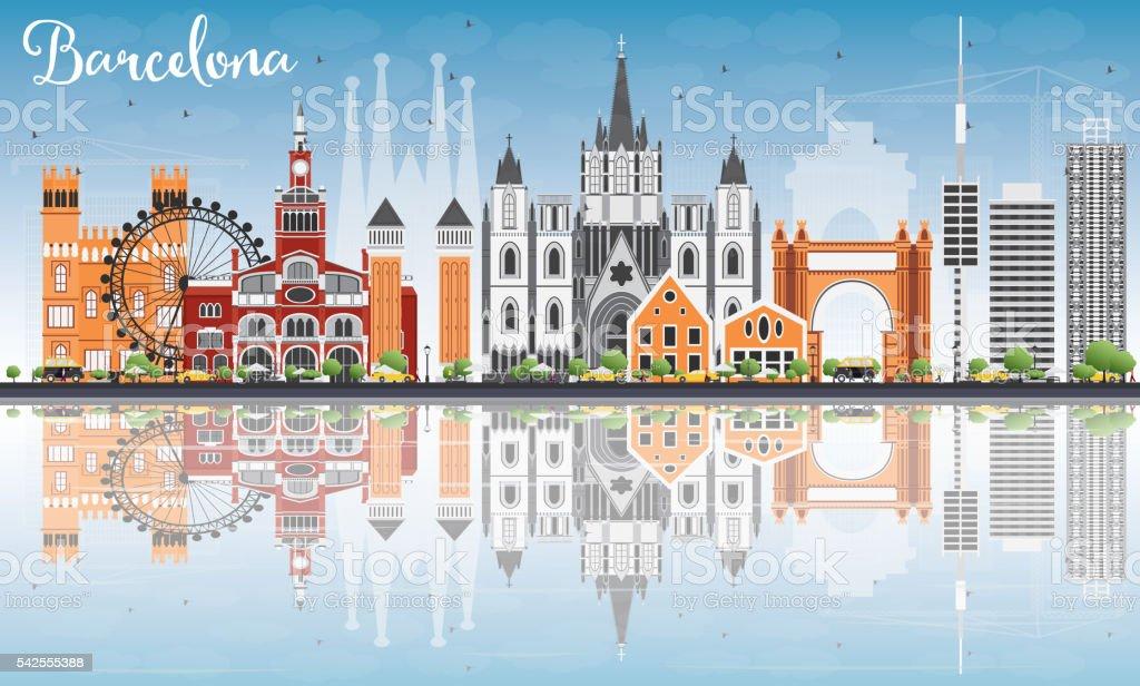 Barcelona Horizonte con Color de edificios, cielo azul y los reflejos - ilustración de arte vectorial