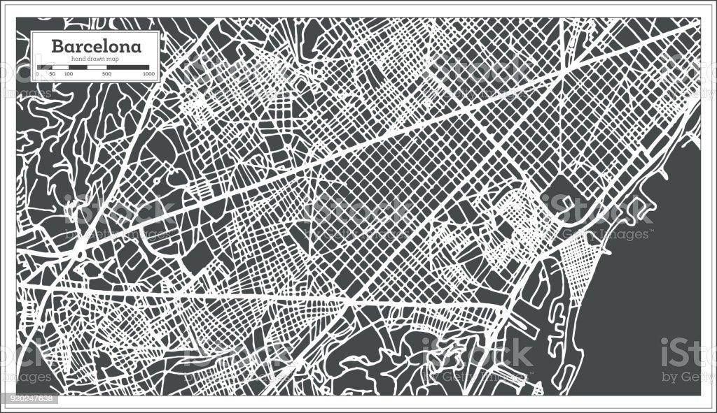 Mapa de la ciudad de Barcelona España en estilo Retro. Mapa de contorno. - ilustración de arte vectorial