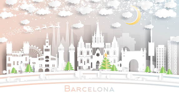 Barcelona Spain City Skyline in Paper Cut Style with Snowflakes, Moon and Neon Garland.