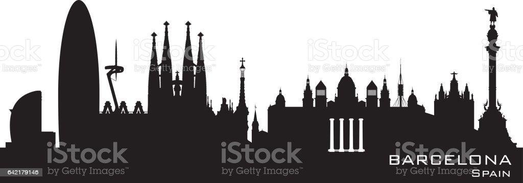 Silueta de los edificios de la ciudad de Barcelona España - ilustración de arte vectorial