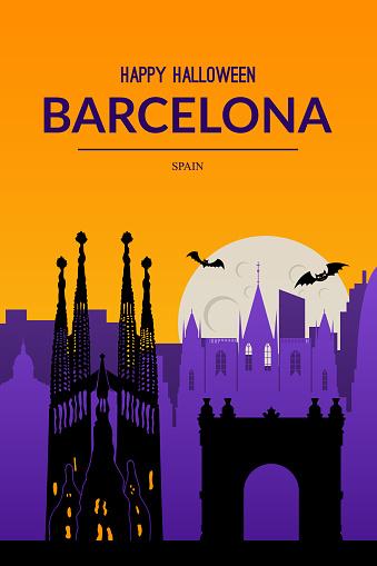 Barcelona, Spain. Halloween holiday background.