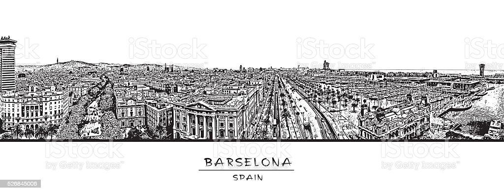 Barcelona, España. Panorámica Horizontal con la Rambla street. - ilustración de arte vectorial