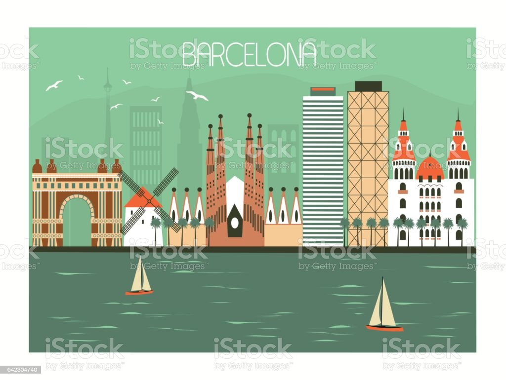 Barcelona, España - ilustración de arte vectorial